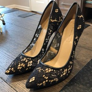 BCBGMaxAzria Shoes - BCBG Black and Nude Lace Pumps
